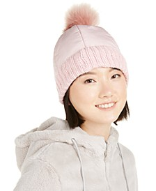 Puffer Hat With Faux-Fur Pom-Pom