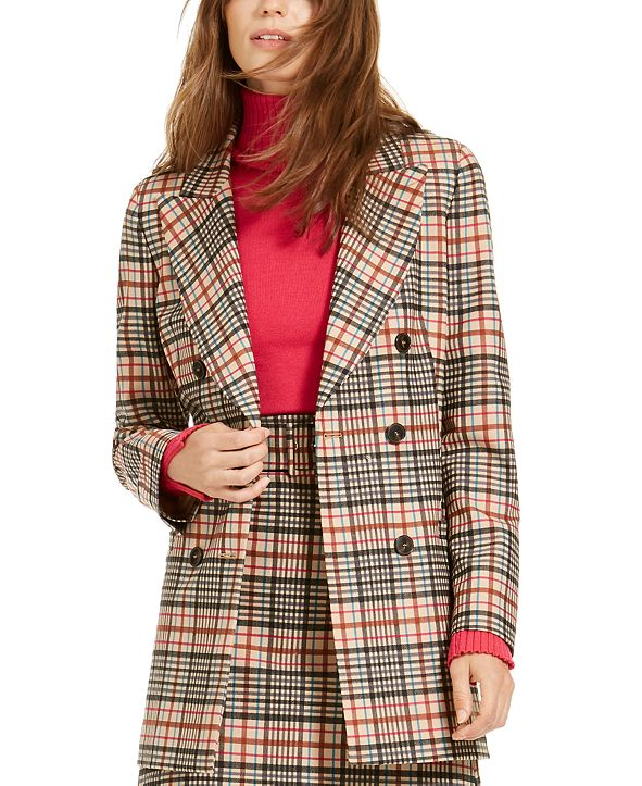 Marella Biagio Plaid Double-Breasted Topper Jacket