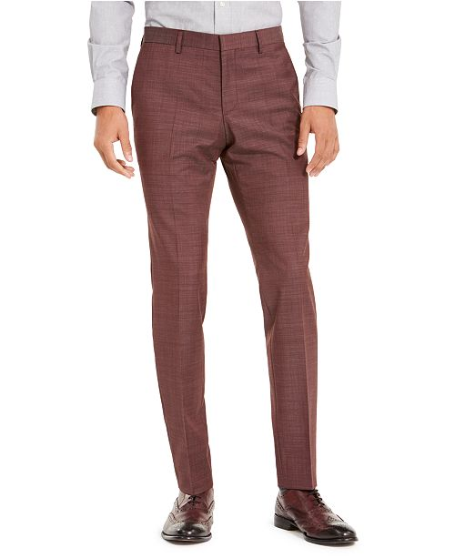 HUGO Men's Slim-Fit Medium Gray Check Suit Separate Pants