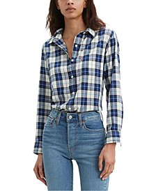 Women's Cotton Plaid Button-Down Shirt