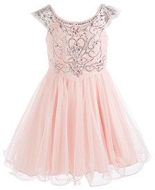 Pink & Violet Big Girls Crystal Party Dress