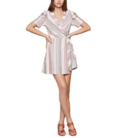 BCBGeneration Striped Wrap Dress