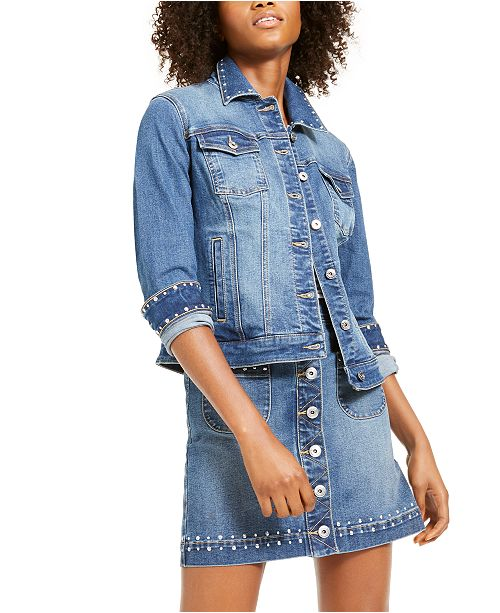 INC International Concepts I.N.C. Studded Jean Jacket & Skirt, Created For Macy's