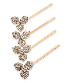 INC Rose Gold-Tone 4-Pc. Set Crystal Flower Hair Pins, Created For Macy's