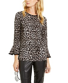 Leopard-Print Flare-Sleeve Top, Regular & Petite Sizes