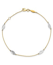 Polished Leaf Anklet in 14k Yellow and White Gold
