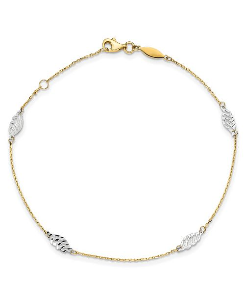 Macy's  Polished Leaf Anklet in 14k Yellow and White Gold