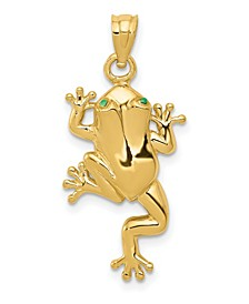 Frog with Enameled Eyes Charm in 14K Yellow Gold