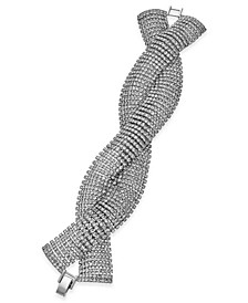 INC Silver-Tone Crystal Twist Flex Bracelet, Created For Macy's