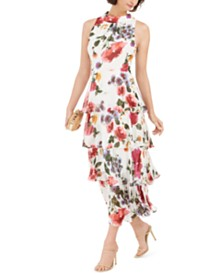 SL Fashions Floral-Print Tiered Maxi Dress