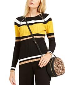 I.N.C. Striped Zipper Sweater, Created For Macy's