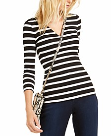 INC Striped V-Neck Top, Created For Macy's