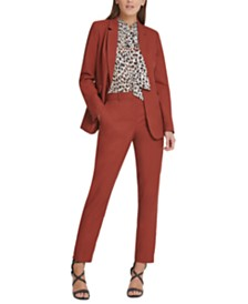 DKNY One-Button Jacket, Animal-Print Pleated Tie-Neck Top & Skinny Pants
