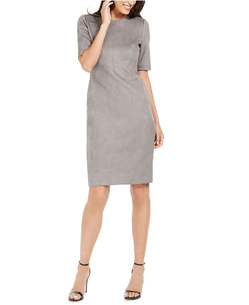 Anne Klein Faux-Suede Sheath Dress