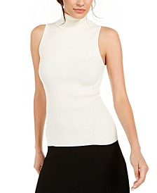 Sleeveless Ribbed Turtleneck Sweater