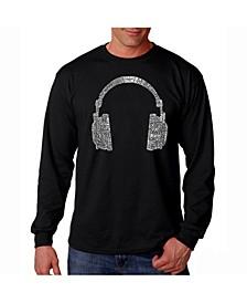 Men's Word Art Long Sleeve T-Shirt- Headphones - 63 Genres of Music