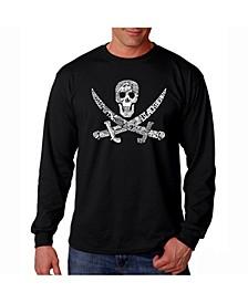 Men's Word Art Long Sleeve T-Shirt- Pirate