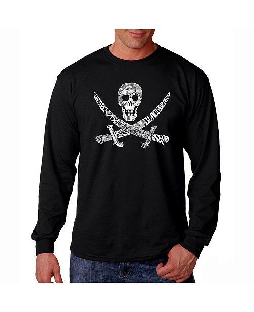 LA Pop Art Men's Word Art Long Sleeve T-Shirt- Pirate
