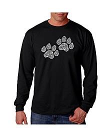 Men's Word Art Long Sleeve T-Shirt- Woof Paw Prints