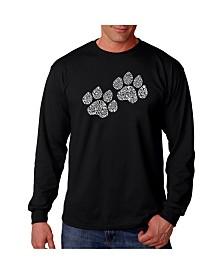 LA Pop Art Men's Word Art Long Sleeve T-Shirt- Woof Paw Prints