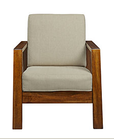 Handy Living Carlyle Mid Century Modern Arm Chair with Exposed Wood Frame