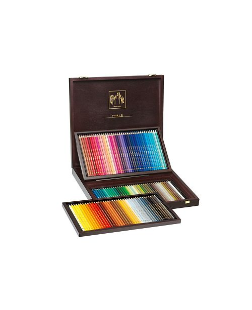 CARAN d'ACHE Pablo Permanent Colored Pencils in A Wood Box, 120 Color Assortment