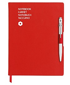 A5 Red Notebook with White 849 Ballpoint Pen