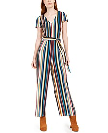 Juniors' Belted Striped Tie-Back Jumpsuit
