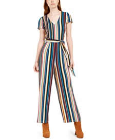 Be Bop Juniors' Belted Striped Tie-Back Jumpsuit
