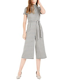 Juniors' Mock-Neck Plaid Cropped Jumpsuit