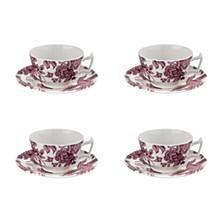 Kingsley Teacup & Saucer, Set of 4