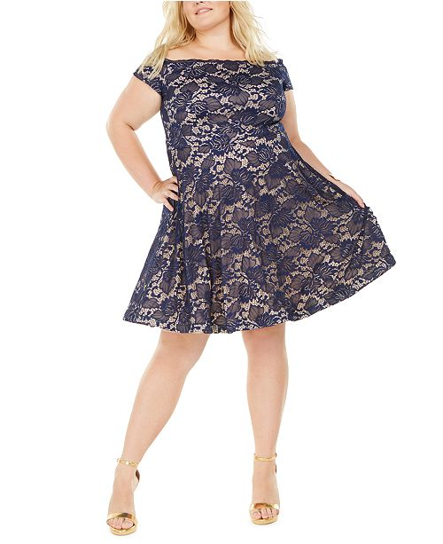 B Darlin Trendy Plus Size Off-The-Shoulder Lace Dress