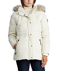 Lauren Ralph Lauren Faux-Fur-Trim Hooded Down Jacket, Created for Macy's