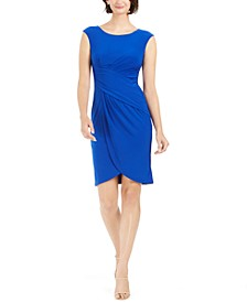 Cap-Sleeve Draped Sheath Dress