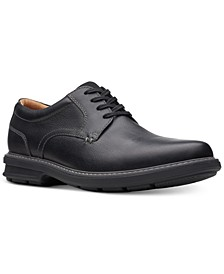 Men's Rendell Plain Black Leather Casual Oxfords