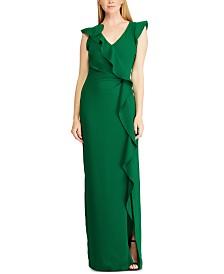 Lauren Ralph Lauren Ruffle-Trim Short-Sleeve Gown
