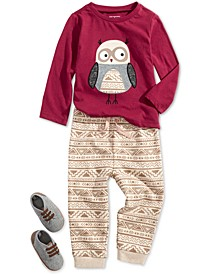 Baby Boys Little Owl T-Shirt, Geo-Print Jogger Pants & Faux-Leather-Trim Sneakers, Created For Macy's
