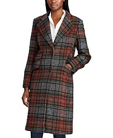 Lauren Ralph Lauren Plaid Reefer Wool Coat