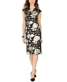 Cap-Sleeve Metallic Floral-Print Sheath Dress