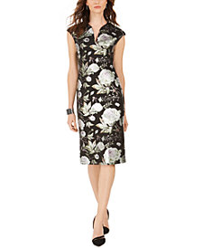 Connected Cap-Sleeve Metallic Floral-Print Sheath Dress
