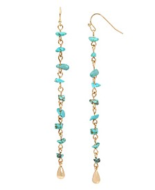 BCBGeneration Turquoise Chip Bead Linear Earrings
