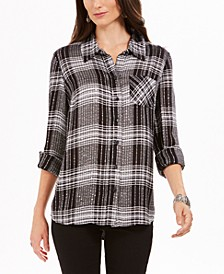 Petite Sequined Plaid Shirt, Created for Macy's