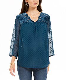 Mixed-Media Sheer-Sleeve Blouse, Created For Macy's