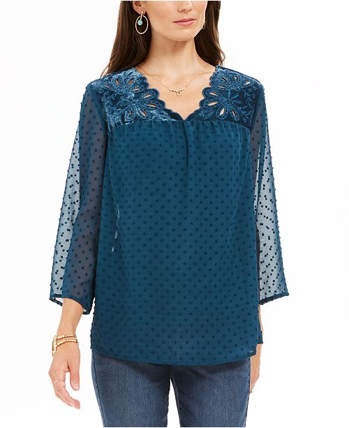 Style & Co Mixed-Media Sheer-Sleeve Blouse, Created For Macy's