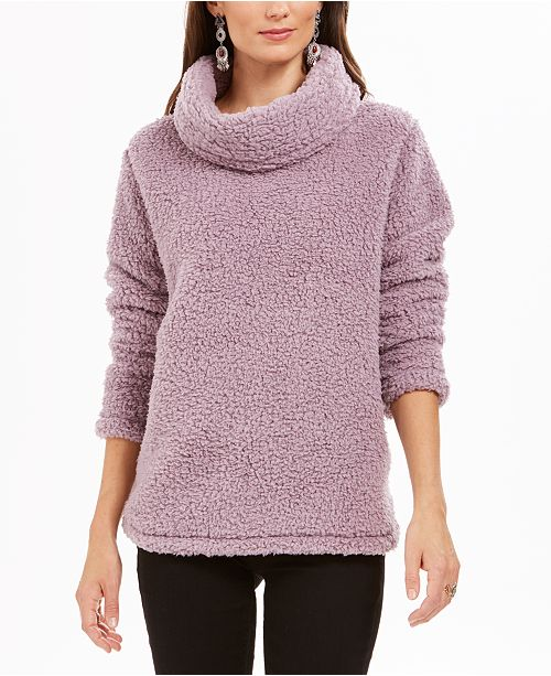 Style & Co Sherpa Cowl-Neck Sweater, Created for Macy's