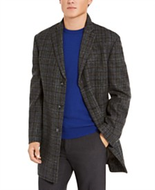 Calvin Klein Men's Slim-Fit Gray Plaid Prosper Overcoat