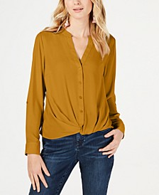 INC Petite Twist-Front Button-Up Top, Created for Macy's