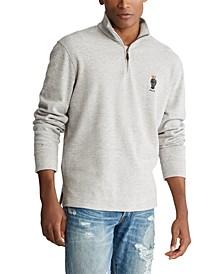 Men's Preppy Bear Cotton Quarter-Zip Pullover