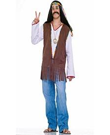 Buy Seasons Men's Faux Suede Hippie Vest Costume