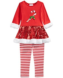Little Girls 2-Pc. Candy Cane Top & Striped Leggings Set